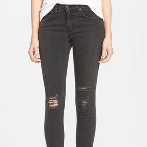 Rag & Bone Jeans Skinny Black Rock with Holes